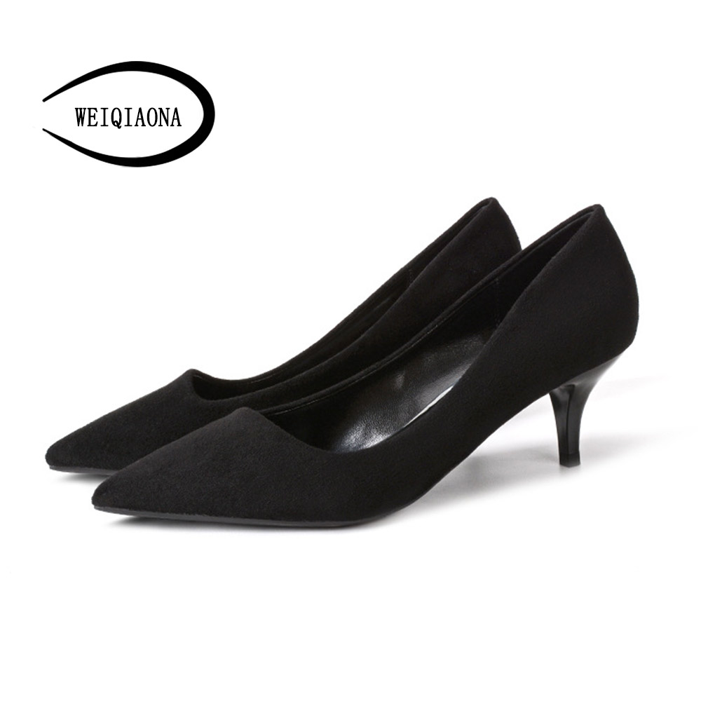 WEIQIAONA Sexy Women Pumps Shoes Size 31-40 Wedding Party Thin Heel Pointed Toe Sallow working shoes Womens High Heels Shoes <br>