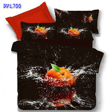 drop shiping  3D oil painting cotton fruit orange bed cover bedclothes bedlinen duvet cover set bedding set