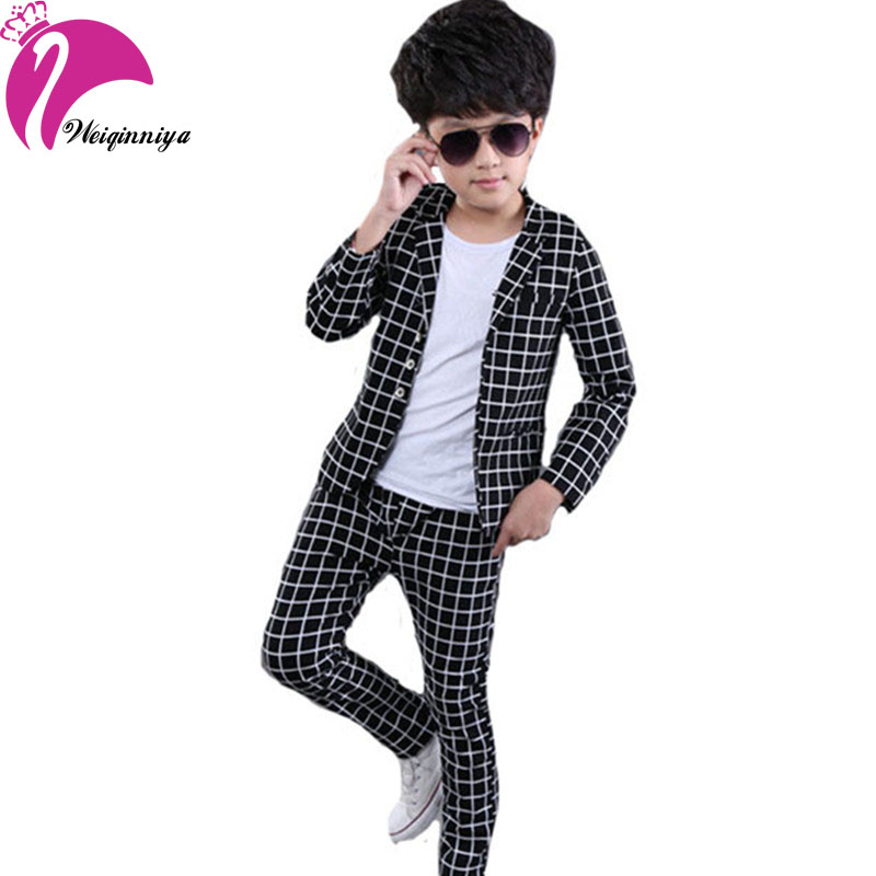 New Style Spring 2016 Boys Blazer Sets Fashion Striped 2 Pieces Suits Gentleman Boy Sets Childrens Clothing High Quality<br>