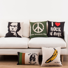 Music Minimalism Classic Album Cover Pillowcase Jim Morrison Bob Marley Woodstock Peace Cushion Covers Linen Cotton Pillow Cover(China)