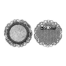 8SEASONS Cameo Frame Setting Brooches Findings Round Antique Silver Cabochon Settings(Fits 25mm ) Flower 3.9cm,10 PCs