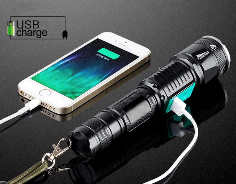 Usb Charge Powerful Led Flashlight Waterproof T6 Long-range Rechargeable Led Light Riding Hunting Torch Tactical Flashlight