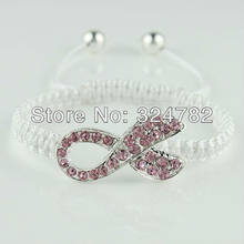 10pcs Free shipping Fashion jewelry Crystal Rhinestones Pink Ribbon Breast  Cancer Connectors beads Macrame Bracelets Adjustable 2238a7a4c07b