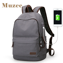 2017 Muzee New Canvas Backpack Anti-theft College Students School Backpack USB Charging Design Bags for Teenager Travel Backpack(China)