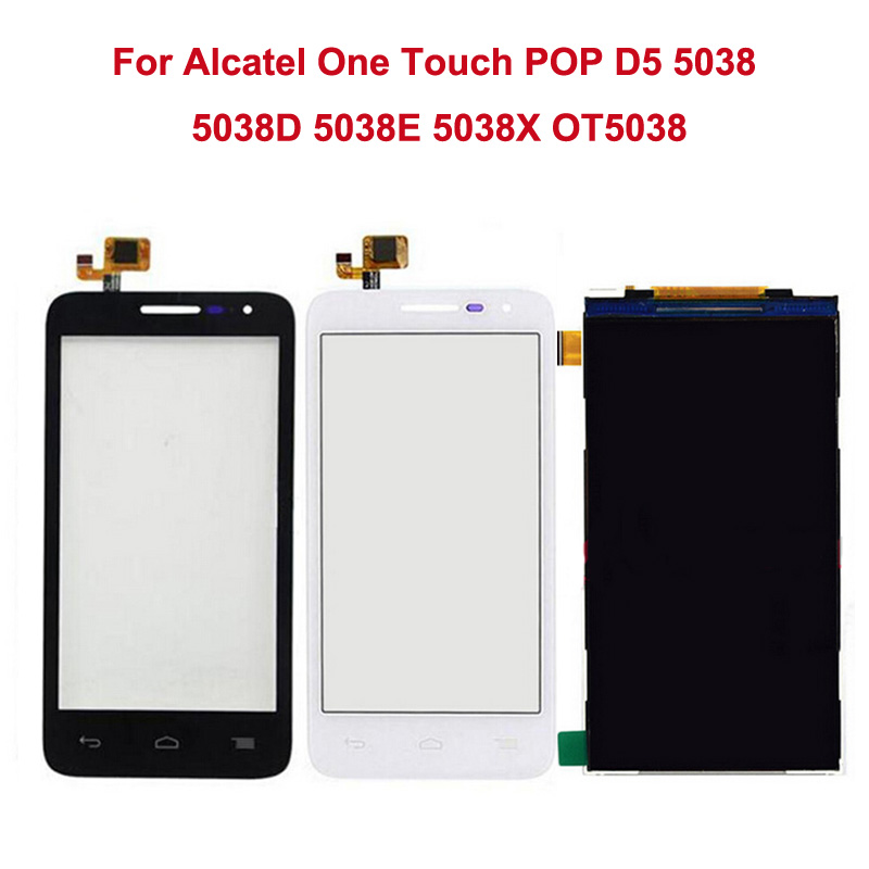 Black White LCD Display For Alcatel One Touch Pop D5 5038 5038A 5038D 5038E 5038X+Touch Screen Digitizer Assembly Replacement <br><br>Aliexpress