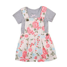 2017 Carters Kid Baby Girl Clothes Set Cotton T-shirt + Strap Floral Romper Jumpsuit Outfit(China)