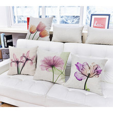 3D Stereo Flower Watercolor Cushion Cover 10 Style Purple Blue Yellow Pink Pillow Cases Sofa Decorative Pillow Cases 45*45cm(China)