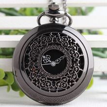 Pocket Watch Black Flower Golden Dial/White Face/Black Roman Numeral Red Digital Quartz Pendant Necklace Mens Womens Gifts