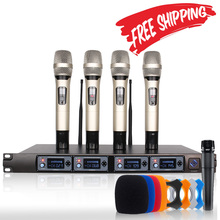 Wireless Microphone System U4000T Professional Microphone 4 Channel UHF Dynamic Professional 4 Handheld Microphone + Karaoke(China)