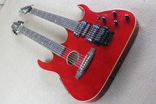 Wholesale popular factory custom double neck red body electric guitar,one is hollow body,one is floyd rose