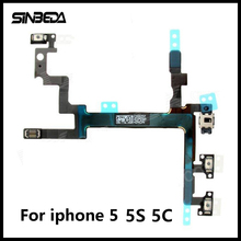 Sinbeda High Quality Volume Mute Power On/Off Flex Cable For iPhone 5 5G 5S 5C Switch Button Flex Cable(China)