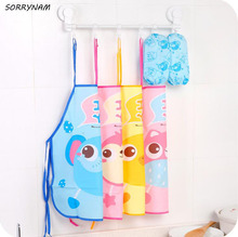 1 Set Cute Cartoon Animal Pattern Children Eat Aprons Waterproof Anti-dress Baby Summer Sleeveless Gowns Painting Bibs