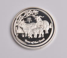2015 Chinese zodiac Goat coin  plated .999 silver Australia Elizabeth coin