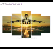 Modern picture Movie poster Child room 5 piece canvas art modular pictures Night view aircraft print oil painting Home Decoratio