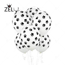 ZLJQ 10pcs Dog Paw Printing Balloons 3.2g Cartoon Matt Balloon Wedding Xmas Birthday Party Decoration Supplies 5D