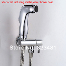 Portable Sanitary Toilet Shattaf Set including Bidet Spray + Brass Toilet Valve with Holder + 1.2m shower hose Free Shipping(China)