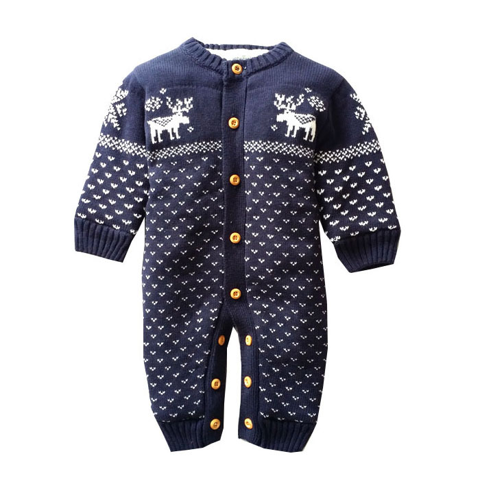 Winter Thick Baby Rompers Newborn Climbing Clothes baby Boys baby Girls Warm Romper Knitted Sweater Christmas Deer Outwear <br>