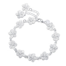 new arrive Beautiful bracelet noble flower chain fashion Wedding Party Silver cute lady nice women bracelet jewelry LH013