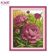 NKF 14CT 11CT Счетный и печатью картина маслом пион вышивки крестом наборы для украшения дома H530(China)