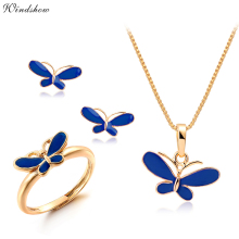 Cute Blue Oil Drop Butterfly Necklaces & Pendants Earrings Ring Small Jewelry Sets for Kids Children Girls Gold Color Jewellery(China)