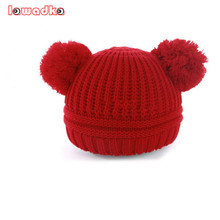 Baby boy and girl  Knitting  Hat Winter Warm  Hairball Ears Lovely Children Cap Christmas Gifts