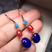 gold weight 2.75g mixed gold weight 6.87g natural lapis turquoise red coral  earrings with 18k real rose gold fine jewelry