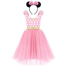 Cute Girls Minnie Mouse Cosplay Outfit for Birthday Party Photo Shoot Tulle Long Polka Dot Dress 2pcs Set Kids Clothes for Girls(China)