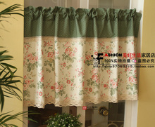 Free shipping Green Serenade Floral Lace beautiful coffee curtain semi-shade small short curtain kitchen curtains Customized(China)