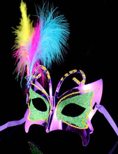 2013 The new high-grade mask banquet / gala / stage gold dust mask butterfly mask feather fluff wholesale(China)