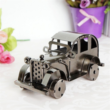 Two Classic Color Old Car Desktop Model Antique Vehicle Furnishings Articles for Military Lover Home Decoration Craft Collection