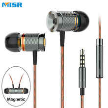 MISR XD3 Wired In-Ear Earphone Metal Headset Magnetic with Mic Microphone Stereo Bass for Phone iphone samsung huawei xiaomi(China)