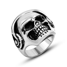 Vintage Look Silver Tone Music Lover Gothic Skull Wearing Headset Headphones Stainless Steel Ring Band U.S.Size(China)