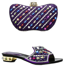 New Purple Color Italian Shoes and Bags To Match Shoes with Bag Set Decorated with Rhinestone Nigerian Party Shoe and Bag Sets(China)