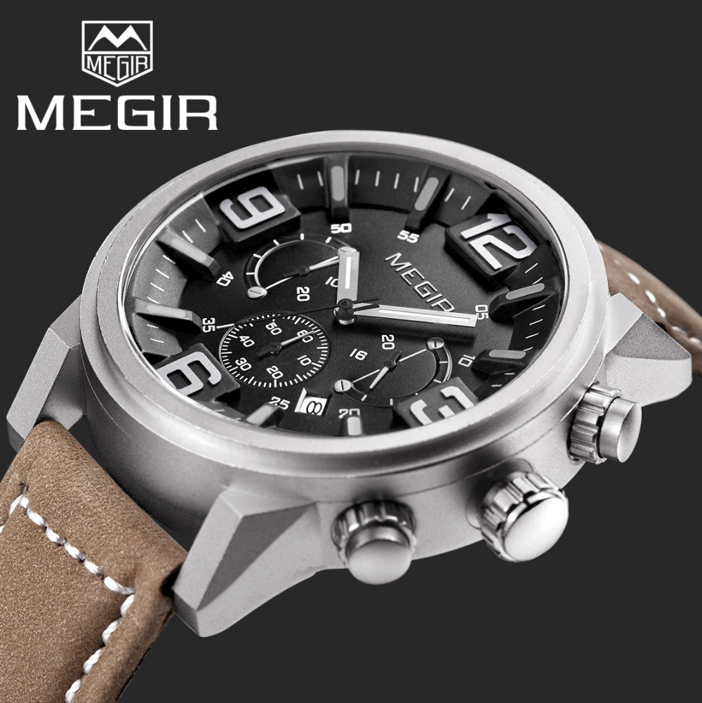 2017 Top Luxury Brand MEGIR Sports Watches Mens Quartz Chronograph Big Dial Clock Leather Wrist Watch relogio masculino relojes<br><br>Aliexpress