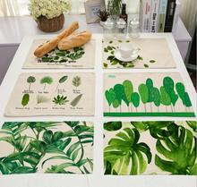 4Pcs/lot Printed Linen Placemat Place mat Table Mat Green leaves polyester Dinner Coaster Home textile Dec wholesale FG635