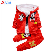2017 New Chidren Kids Boys Clothing Set Autumn Winter 3 Piece Sets Hooded Coat Suits Fall Cotton Baby Boys Clothes animal