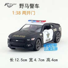 Candice guo alloy car model Ford mustang 911 police man wagon plastic motor pull back collection children toy birthday gift 1pc(China)
