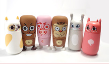 Newest Cute Cartoon Money/Rabbit/Cat 310ml Kids Water Bottle High Quality Unleaded Healthy Glass Bottle with Silicone Decor