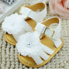 Baby Summer White Flower Shoes Infant Girls Soft Sole Princess Shoes Prewalker(China)