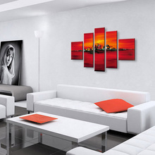 5 Panels Set Oil Painting of Abstract Landscape Modern Fashion Red Paintings Home Decoration Wall Art Picture 100% Hand Painted