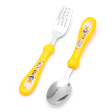 2Pcs/Set Lovely Baby Kids Feeding Spoon Fork Stainless Steel Baby Spoon Flatware