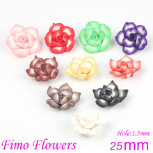 OlingArt 25mm 12pcs/lot Soft ceramic diy Jewelry making Beads Mixed Polymer Clay 5-leaves Stereo Flower Spacer Loose Bead