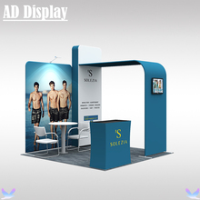 10ft*10ft Booth Size Portable Tube Display Tension Fabric Backdrop Wall With Hard Case Podium And One Light(No TV Accessory)