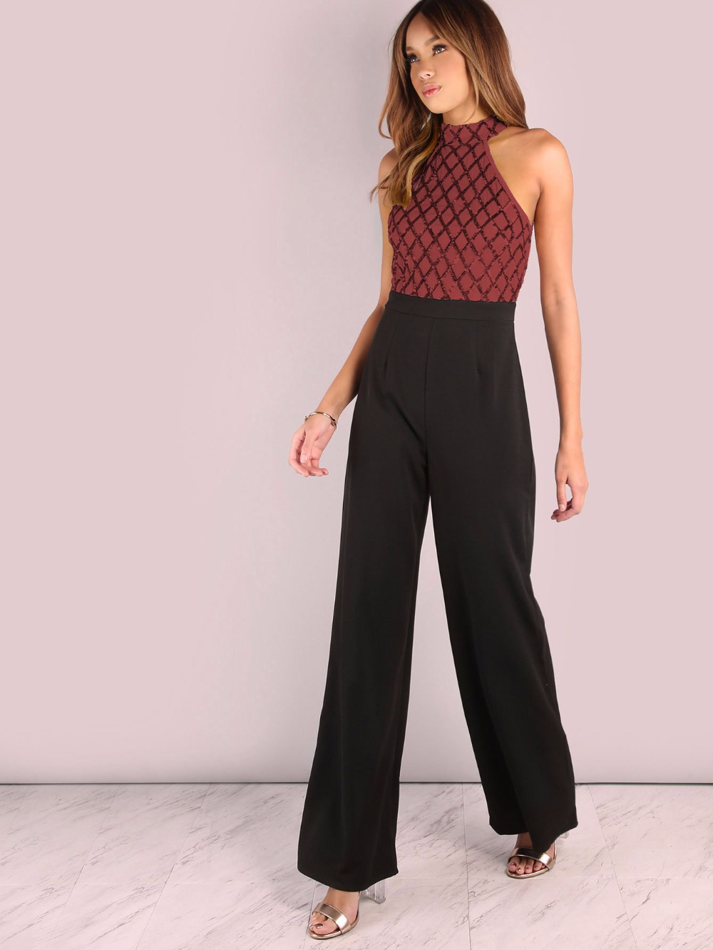 Women Sexy Halter Cold Shoulder Plaid Sequin Top Patchwork Jumpsuit Elegant Casual Party Long Pants Boot Cut Jumpsuit Back Zip 11