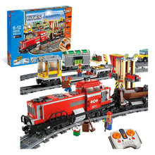 CITY RED CARGO TRAIN Building Brick Blocks RC TrainToys Boys Develop Gift Same Model 3677