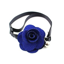 Rose Flower Dog Cat Bell Collar Adjustable Outdoor Nylon Pet Collars For Dogs Puppies Teddy Pets Collars(China)