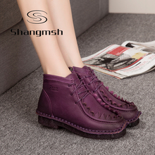 Handmade Martin Boots Leather Shoes Chinese Folk Style Retro Soft Flat Boots Plus size 11 Female Leisure Warm Velvet Women Shoes