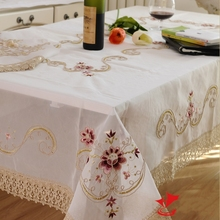 Kingart Hand White Lace Tablecloth Rectangle Embroidery tablecloth Set Flower Table Cover For Wedding