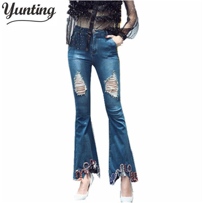 Hot Sale Womens Ripped Jeans Fashion Flare Jeans For Woman Hole Denim pants Flowers Embroidery Jeans Free shipping Îäåæäà è àêñåññóàðû<br><br>