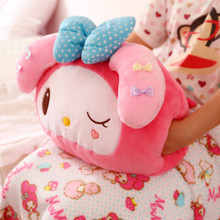 X-MG Cartoon warm Shou Wu pillow, blanket triple air conditioning, cartoon cushion office nap pillow lunch break pillow